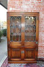 english antique display cabinet. Antique English Oak Leaded Glass Door Bookcase Display Cabinet 5 Shelf Cupboard L