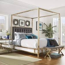 Weston Home Umberton Full Size Canopy Bed in Champagne Gold Finish and Dark Gray Square Tufted Headboard