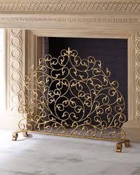 italian gold double scroll single panel decorative fireplace screen