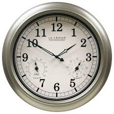 Thermometer and Hygrometer Indoor/Outdoor Quartz Wall Clock-WT-3181PL-Q -  The Home Depot