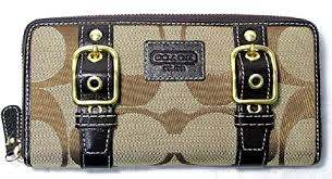 ... Large Yellow Wallets AGU COACH BROWN SIGNATURE BUCKLE ZIP AROUND WALLET  43393 SKHMA ...