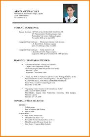 Format Of Resume For Job Cvsume Format For Job Application Pdf Template Resume Cv Example 12