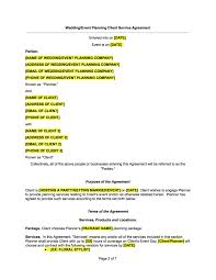 Event Planning Services Agreement 008 Wedding Planner Contract Example Or Event Template Docs