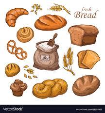 Cartoon Bread Fresh Bakery Product Flour Ears Vector Image