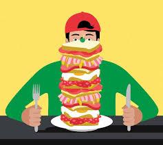 Teen guys eat hungry