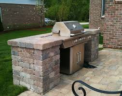 Outdoor Barbeque Designs Brick Belgard Patio With Built In Grill Surround By Hawthorn Woods