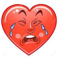 Cartoon Red Heart Cry Emoticons Smiley Emoji Sad Emotion