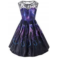 lilly munster costume plus size dropship octopus claw galaxy sleeveless plus size dress to sell