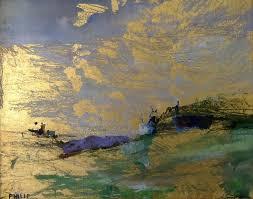 Michelle Philip Seashore Dawn 23kt gold leaf, oil and encaustic portray  Seashores Sunrises, Artworks Gold, Leaf Work, Michelle Philip, 23Kt Gold,  ...