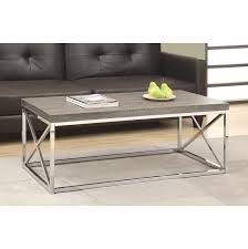 coffee table dark taupe with chrome