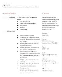 Highschool Resume Templates Food Delivery Position Resume For School