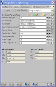AMRAVEN Wing Editor Tab for the wing-subsection layout. | Download ...