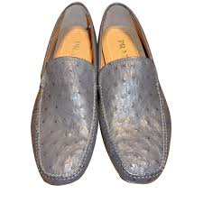 prada prada brand new men s ostrich leather driving shoes loafers slip ons other grey ref