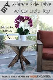 diy x brace side table w concrete top