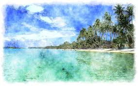 tropical beach pictures with girlswallpapers girls on beach pic watercolor painting tropical degf hrm wallpaper