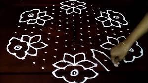 Simple Rangoli Designs With Dots 15 8 Simple Flowers Kolam With 15 8 Middle Chukkala Muggulu