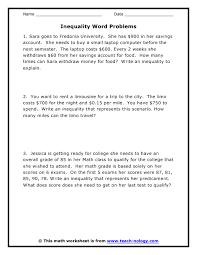 writing solving word problems in algebra practice writing inequalities from word problems worksheet