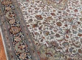 kashmir pure silk cream persian silk rug sm14