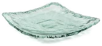 100 recycled glass textured large square plate
