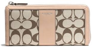 ... Accordion Zip In Signature Large Black Wallets EVA Coach Legacy Slim Zip  Wallet in Printed Signature Fabric in Gray Lyst ...