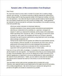 sample recommendation letter for scholarship from employer 15 sample recommendation letters for employment in word