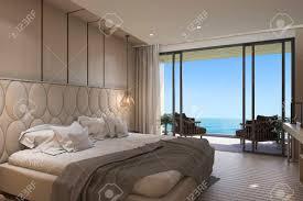 3d Rendering Schöne Aussicht Aufs Meer Schlafzimmer Mit Luxus Design