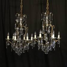 french pair of 6 light antique chandeliers
