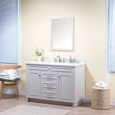maykke abigail 48 inch bathroom vanity set in birch wood french grey finish single gray bathroom vanity with top and backsplash in white quartz and ceramic