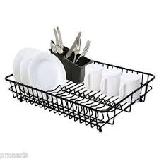 Plastic Coating For Dishwasher Rack Delfinware Large Plastic Coated Black Dish Drainer Cutlery Basket 89