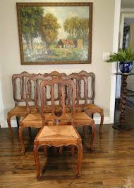 antique french dining chairs fitted rush seats loop back 11601
