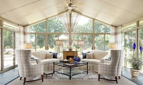 Interior:Sunroom Design Idea With Wide Glass Doors And Windows Also  Fireplace Plus Ceiling Fan