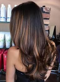 Black Hair With Caramel Brown Balayage