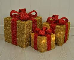 3 Light Up Christmas Boxes Kingfisher Set Of 3 Led Light Up Boxes