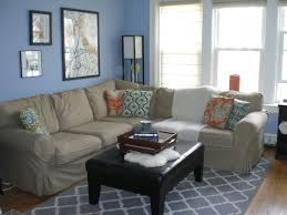 blue and tan living room colors