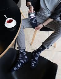 стильные мужские носки тату темно синие