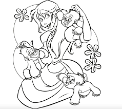 Jane And Baby Gorillas Coloring Page