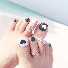 Amazon Com Cugap 24pcs Heart Toe Fake Nails Full Toes Nail