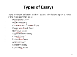 lecture essay writing ppt video online  types of essays there are many different kinds of essays the following are a some