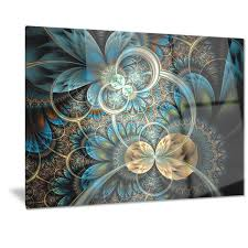 designart x27 symmetrical blue gold fractal flower x27  on brown and teal metal wall art with shop designart symmetrical blue gold fractal flower digital art