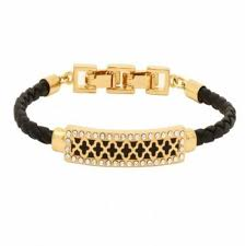 halcyon days agama sparkle black enamel gold woven leather id bracelet for