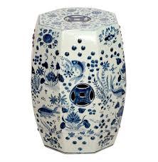 Octagon Blue and White Koi Fish Ceramic Garden Stool Seat Kathy