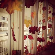 Window Decoration Fall Bay Window Decorating Idea Fabric Leaves Tied Onto Clear