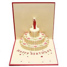 Happy Birthday Card 3d Pup Up Greeting Card Birthday Cake