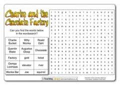 charlie and the chocolate factory teaching ideas charlie and the chocolate factory wordsearch