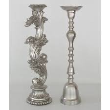 tall silver candleholders