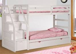 white bunk bed with stairs. Unique Stairs Logan Twin White Bunk Bed With Stairs And Trundle In With E