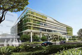 modern office building design. Modern Green Office Building Design Architecture Front Elevations With Glass Walls And Garden