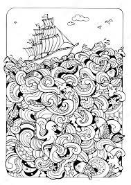 Kleurplaat Pagina Met Boot En De Zee Stockvector Xaxalerik 98712858