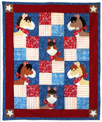 Pony Tales Western Themed Quilt with appliquéd horse heads. In Red ... & Pony Tales Western Themed Quilt with appliquéd horse heads. In  Red/Blue/Beige Adamdwight.com