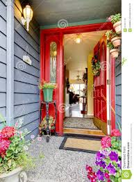 open front door. Download Bright Red Open Front Door To Blue House With Hardwood Floor Int  Stock Photo - Open Front Door R